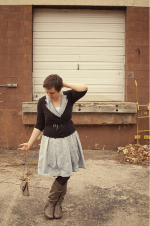 periwinkle Anthropologie dress - heather gray 2011 carsons boots
