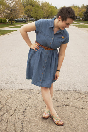 sky blue denim altered second hand dress - bubble gum Rocket Dog sandals