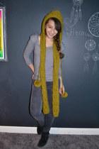 chartreuse hooded Forever21 scarf - black fringe Minnetonka boots