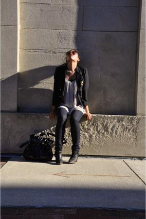 skinny jeans Forever 21 jeans - black H&M boots - vintage blazer