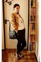 beige vintage Deichmann shoes - beige suede H&M jacket