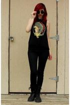 black combat boots Banana Bay boots - black skinny jeans Bullhead jeans