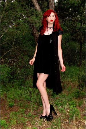black skater DIY dress - black sleeveless Hot Topic coat