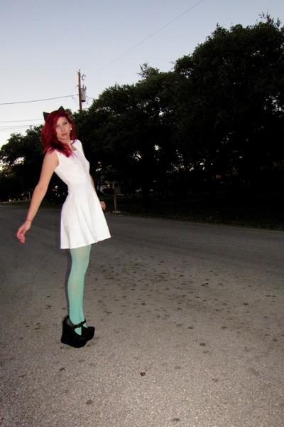 black platform Jeffrey Campbell wedges - white skater kirra dress