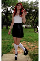 black mini Maxima skirt - white knee high Mossimo socks - white tank kirra top