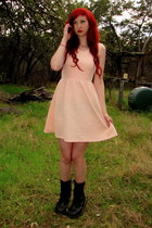 black combat boots Banana Bay boots - peach skater xhilaration dress
