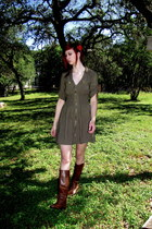 brown riding boots - olive green dress - forest green headband accessories