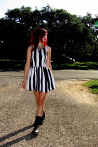white striped LA hearts dress - black combat boots boots