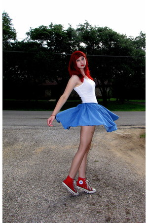 white tank top Lilu top - blue denim DIY skirt - red high-top Converse sneakers