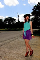black bowler hat - aquamarine sleeveless kirra shirt - purple Mossimo skirt