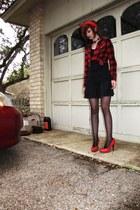 shirt - flannel shirt - skirt - sheer jet black Hanes stockings - heels