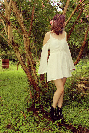 white mini Sheinside dress - black platform Charlotte Russe heels
