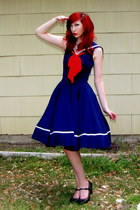 off white pearl bracelet - navy sailor Rock Steady dress