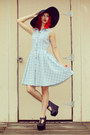 Light-blue-button-up-modcloth-dress-black-floppy-hat-mossimo-hat