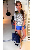 satchel WHITE CALF bag - Topshop shorts - Steven by Steve Madden heels