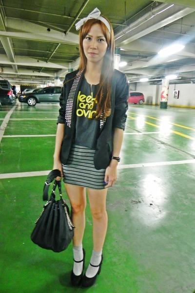 black studded WHITE CALF blazer - chain Zara bag - striped cotton on skirt - bla