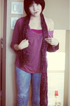 purple bra - purple shirt - purple scarf - blue bui-yah-kah jeans