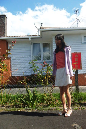 white Forever New flats - light purple Glassons cardigan - coral Valley Girl top