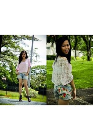 light pink crop top lace thrifted shirt - heather gray mini shorts WAGW shorts -