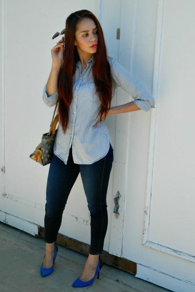 blue suede Jessica Simpson heels - sky blue stripes Topshop shirt