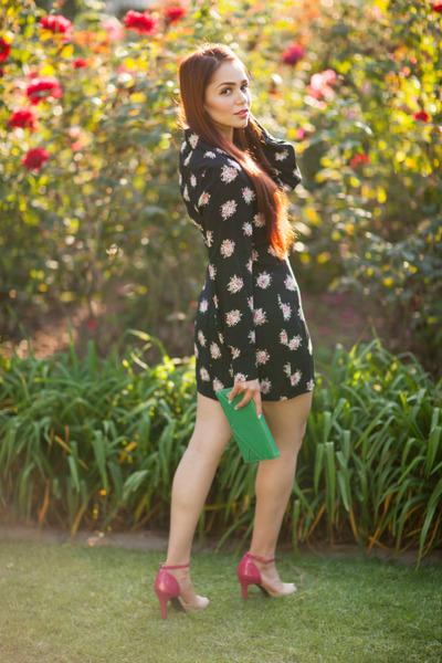 black prints Alexx Jae & Milk dress - bubble gum ankle strap BCBGeneration heels