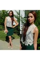 ivory StyleSaint intimate - dark green high-waist Forever21 skirt