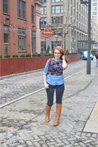 navy crop top Nordstrom blouse - camel knee-high boots Diba True boots