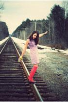 light purple mini dress vintage dress - navy wool pea Forever 21 coat - beige fl