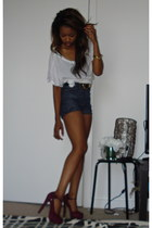 becomming Steve Madden pumps - Earnest Sewn shorts - scoop f21 basic t-shirt