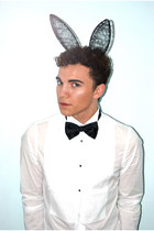 black bow tie H&M tie - black bunny headband BCBG accessories