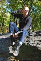 black vintage Metropolis boots - navy slim fit Diesel jeans