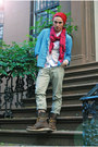 Sky-blue-chambray-h-m-top-brown-red-wing-jcrew-boots-red-knitted-random-hat