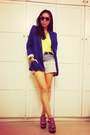 Neon-platforms-shoes-blue-blazer-blazer-ombre-shorts-shorts-t-shirt