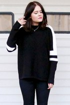 black Zara sweater - black TUK shoes - black Topshop pants