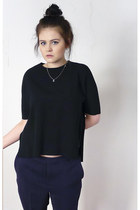 black COS top - white Chanel necklace - navy COS pants - black nike sneakers