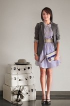 periwinkle Oh My Godot Vintage dress - heather gray Zara blazer - navy Mushu pur