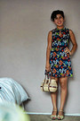 Navy-flower-print-random-brand-dress-eggshell-handmade-bag