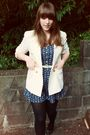 White-vintage-blazer-blue-vintage-jumper-white-thrifted-belt-black-thrifte