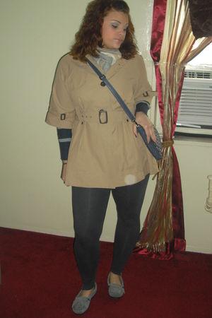 gray Minnetonka shoes - beige Forever 21 coat - blue Forever 21 purse