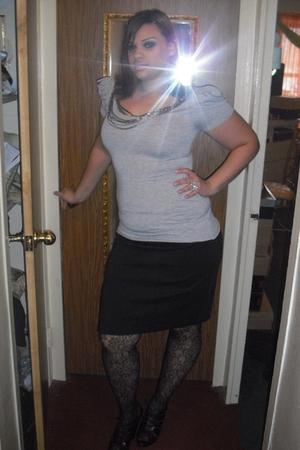 black stockings - black New York and Company skirt - black Aldo shoes