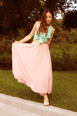 light pink American Apparel skirt - light blue Final Touch top
