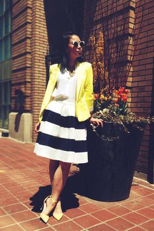 yellow boyfriend Zara blazer - navy striped a-line skirt