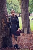 black Aldo boots - black dress - crimson box clutch vintage bag - black cardigan