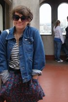 blue UO skirt - blue vintage Wrangler jacket - black lark and wolf t-shirt