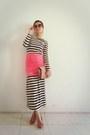 White-stripes-maxi-random-dress-hot-pink-skirt