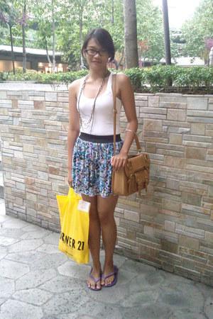random brand bag - Havaianas flats - random brand skirt - white Forever21 top -