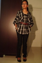 trifted glasses - trifted blouse - aigner belt - Topshop pants - Charles & Keith