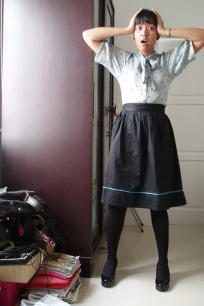 ELFAS blouse - random brand accessories - casio accessories - xSML skirt - rando