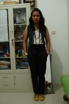 random brand vest - random brand top - Zara pants - handmade accessories - casio