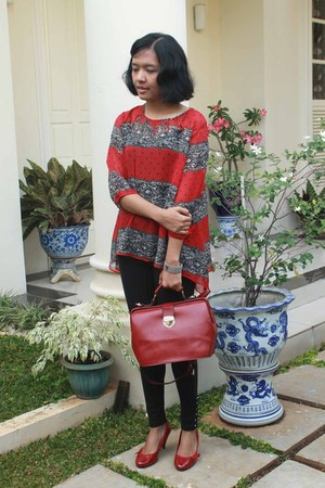 red Local blouse - black cottonink leggings - brick red Korean purse